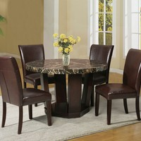 5 pc Adolph II collection espresso finish wood round black faux marble top dining table set with bycast vinyl upholstered chairs
