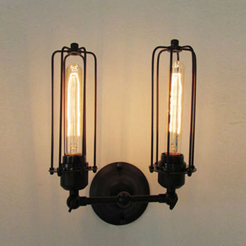 New Arrival Retro Sconce Edison Country Style E27 Wall Lamp High Quality Vintage 2 Heads Loft Iron Cages 110-220V Ac Wall Light