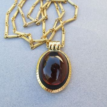 Long Signed MONET Modernist Dark Amber Glass Cabochon Pendant Necklace