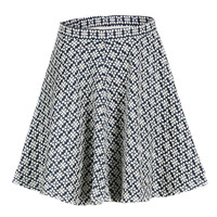 Black and White Skirt With Geometric Pattern