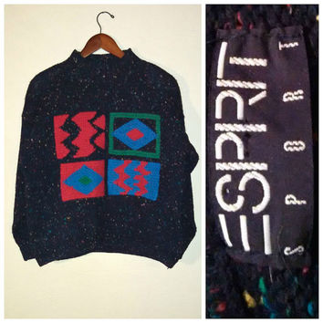 Vintage 80s Esprit Sport Sweater, Boxy Sweater, Wool, Shoulder Pads, Geometric Pattern, Tribal Pattern, 80s Sweater