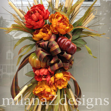 Fall Swag, Autumn Swag, Pumpkin Floral Wreath, Fall Table Centerpiece, Mantle Decorations, Harvest Decorations, Orange and Yellow Flowers