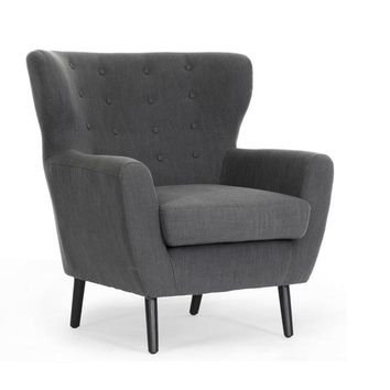 Baxton Studio Lombardi Dark Gray Linen Modern Club Chair Set of 1