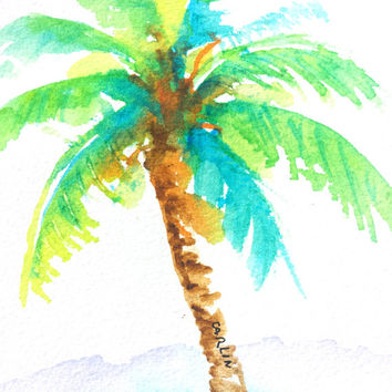 Original Watercolor Painting, Coconut Palm Tree, 4x4, small, tropical theme, beach art, colorful, blue, green,summer,
