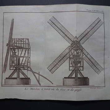 WINDMILL old print set of 2 original 1771 antique French technology prints about Windmills and Water Mills illustration vintage pictures