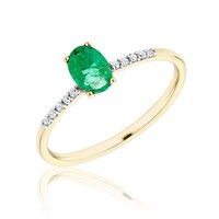 Oval Emerald and Diamond Yellow Gold Ring 1/20ctw