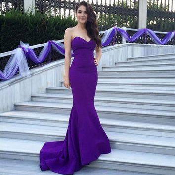Amazing Sexy Off Shoulder Purple Long Fitted Mermaid Prom Dresses 2017 Formal Engagement Party Evening dresses