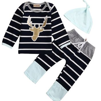 3PCS Baby Boys Deer Striped Long Sleeves Tops T-shirt +Long Pants Leggings +Hat Striped Outfits Set Clothes