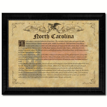 North Carolina Vintage History Flag Canvas Print, Picture Frame Gift Ideas Home Décor Wall Art Decoration