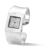 CleverEve Designer Series Wide Square Face Silver Color Fashion Cuff Watch 29.0mm - Sales Cache