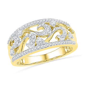 10kt Yellow Gold Womens Round Diamond Filigree Band Ring 1/3 Cttw 100509