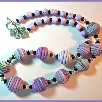 "Necklace Jupiter Beads Polymer Clay Light Purples Black Silver 21"" Long Handcrafted Original Design"