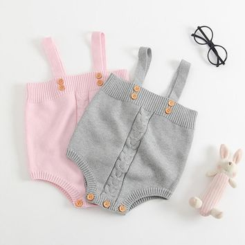 Cute Baby Bodysuit Girls Jumpsuits Baby Toddler Overalls Button Princess Knitting Clothing Baby Girl Clothes