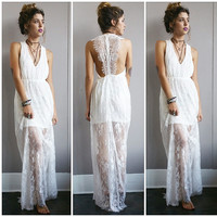 A Stunning Lace Maxi in White