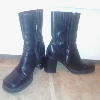 Tommy Hilfiger Vintage Black Leather Ankle Boots from the late 80's size 7M with 4 inch chunky  heels / Made in Brazil  / zipper closure