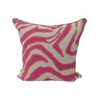 Pre-owned Hot Pink Zebra Throw Pillow