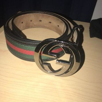 DCCK4 Authentic Men's Gucci Black Trim Green and Red Stripe Belt 114984 H17AR size 34