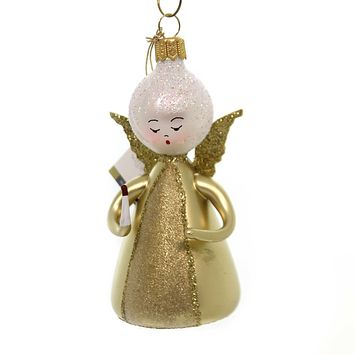 De Carlini LITTLE ANGEL WITH CANDLE Christmas Ornament Heavenly An149 Gold