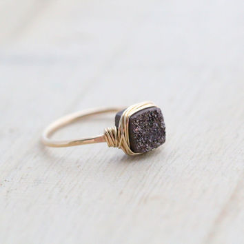 Chocolate Druzy Ring