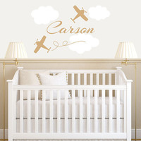 Personalized Airplane Wall Decal - Airplane Clouds & Name Vinyl Wall Decal - Boy Baby Nursery Boys Room Wall Art 22H x 36W BN011