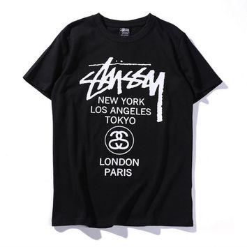 Unisex Stussy Monogram Print Cotton T-Shirt Tee Top