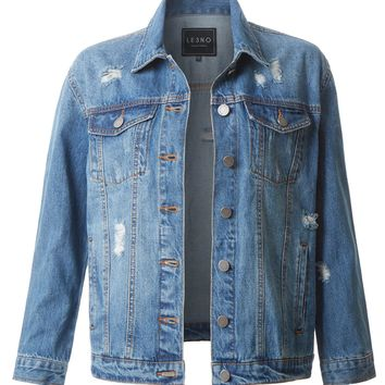 LE3NO Womens Distressed Long Sleeve Ripped Boyfriend Denim Jacket