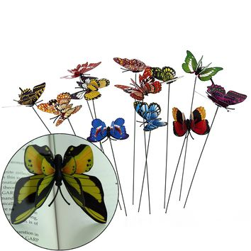 Ginsco 12pcs Colorful 3D Wings Butterfly Stakes Yard Patio Garden Plant Pot Flower Bed Decor Miniature Fairy Garden Butterflies Decorations