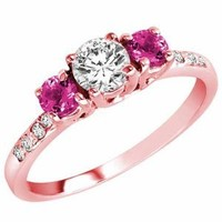 Ryan Jonathan 14K Gold Round 3 Stone Diamond and Pink Sapphire Engagement Ring With Pave Set Shank (1.00 cttw)