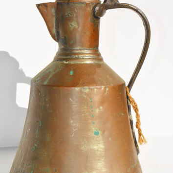 Antique Copper Water Pitcher, Primitive Hammered Copper Jug, Turkish Hand Made  Relic,  Old Milkman Vessel, Güğüm,