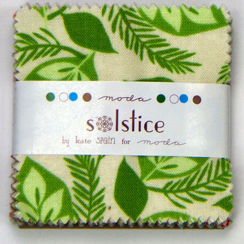 "Solstice Mini Charms, 27180MC, 2.5"" squares by Kate Spain for Moda, Mini Charm Packs, Cotton Fabrics, Christmas fabrics"