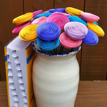 24 Mini Pastel Paper Flowers in Pink, Aqua Blue, Indigo Purple, Yellow - Handmade Rolled Paper Flower Bouquet for Brides, Weddings, Showers