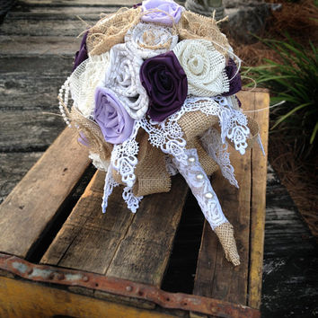 Purple Burlap Bouquet, Wedding Burlap Bouquet, Burlap Bouquet Wrap, Rustic Bouquet, Burlap, Wedding, Bride, Groom, Favor, Purple, Plum,Pearl