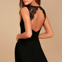 Need You Close Black Lace Backless Skater Dress