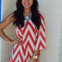 Head Over Heels For Chevron Dress: Coral Pink | Hope's