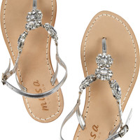Musa Swarovski crystal-embellished leather sandals – 60% at THE OUTNET.COM