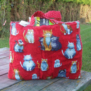 Cats Tote Bag Reausable Grocery Bag Ready to Ship Shopping Bag Love for Cats