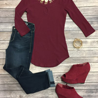 This is the Key Top: Burgundy
