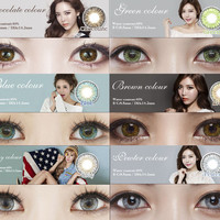 Colorful 6 colors in stock eye contactLenses Cosmetic contact lenses eye color yearly use 14.5mm Freeshipping