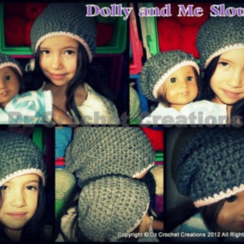 "Crochet 18"" Doll and Girls Slouchy Beanie Set - Pattern - PDF - Instant Download - Crochet Pattern"