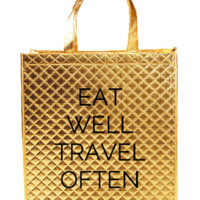Eat Well Travel Often Metallic Gold Tote Bag