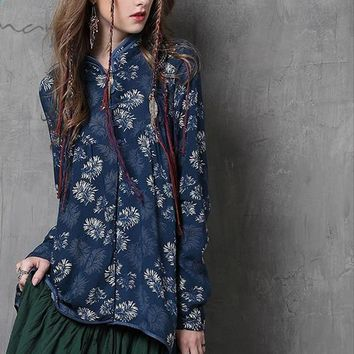 Women Blouse Autumn New Vintage Cotton Blouses Long Sleeve Mandarin Collar Asymmetrical