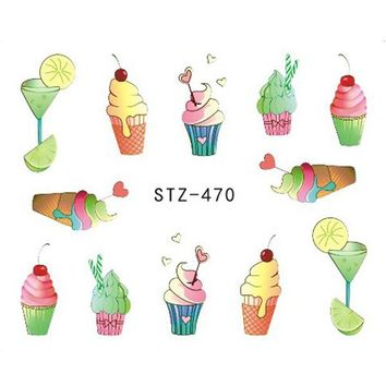 1 x Nail Sticker Water Decals Nail Art Sticker Tattoo Decals Manicure Summer Ice Cream/Drink/Fruit/Flower/Butterfly LASTZ470-473