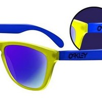 Oakley Frogskins Collectors Editions Blacklight Yellow Blue Blue Iridium Sunglasses