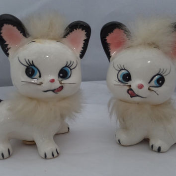 Cats Salt and Pepper Shakers - Ceramic with Fur Kitchen Collectible, Cute Kittens