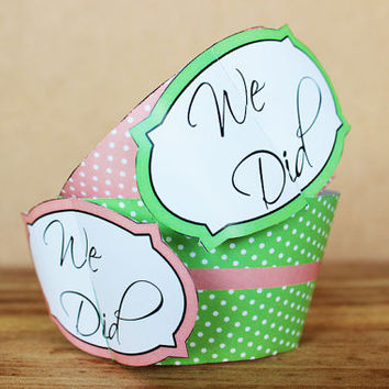 "Printable 3D Wedding Cupcake Wrapper Set – ""We Did"" cupcake wrappers in coral and mint green polka dot patterns -  INSTANT DOWNLOAD"