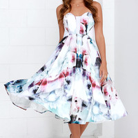 Bariano Floral Flux Ivory Floral Print Midi Dress