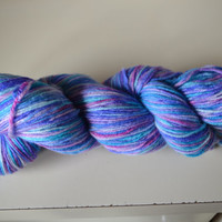 Hand Dyed Superwash Bluefaced Leicester/Bamboo Fingering/Sock Knitting Crochet Bubblegum