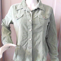 Periscope Womens Jacket Green Large L Corduroy Button 2 Pocket Casual