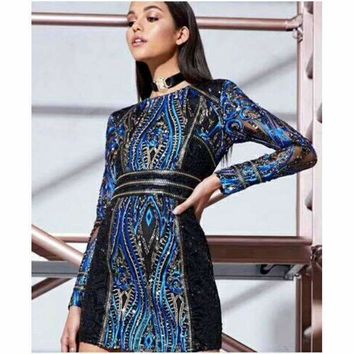 Womens Long-Sleeve Sequin Dress Special Occasion Dresses