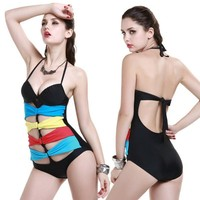 Rainbow ribbon One Piece push up MONOKINI SWIMSUIT SWIMWEAR